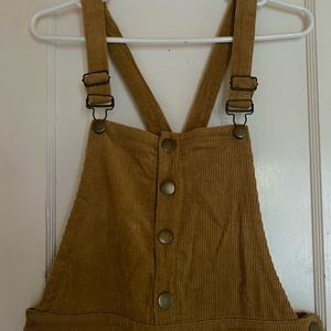 F21 tan corduroy zip and button overalls